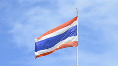 Old thailand flag blowing on flagstaff Stock Footage
