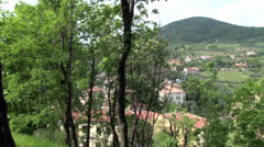 Euganean Hills (Colli Euganei), Padovan-Venetion plain, Italy - stock footage