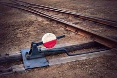 railway switch - stock photo
