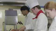 Professional chefs preparing and cooking food in a commercial kitchen - stock footage