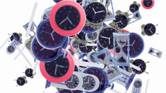 Pocket watch and clock array. Stock Footage