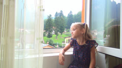 Sad Alone Child Looking Out Window Glass, Unhappy, Bored Little Girl, Children Stock Footage