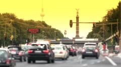 Berlin Siegessaeule, Victory Column, rush hour Stock Footage