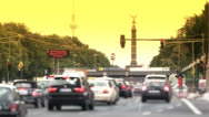 Stock Video Footage of Berlin Siegessaeule, Victory Column, rush hour