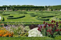 Boxwood decorations and flowers in herrenhausen gardens, hanover, germany Stock Photos
