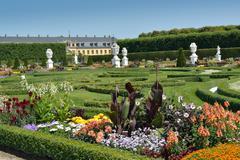 garden with sculptures in herrenhausen gardens, hanover, germany - stock photo