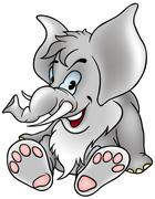 Gray Sitting Elephant - stock illustration