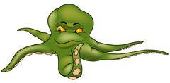 Green Octopus Stock Illustration