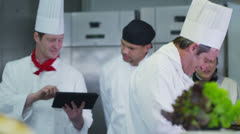 Team of professional chefs working together in a commercial kitchen Stock Footage