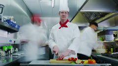 Time lapse of a busy team of chefs preparing food in a commercial kitchen Stock Footage