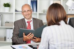 confident businessman in interview - stock photo