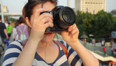 Tourist travel photographer photographing London city at sunset - stock footage