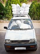 old car, good staffing of airbags. joke. - stock photo