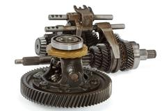 pinions and differential  from  gearbox, isolated on white background, with c - stock photo