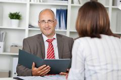 businessman and woman in interview - stock photo