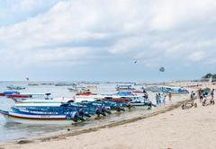 Tourist watersport beach on bali Stock Photos