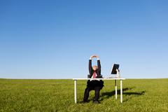 Businessman stretching on grassy field Stock Photos