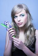 Girl witn hyacinth - stock photo