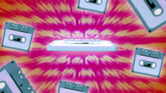 Cassette tape spinning space invaders background Stock Footage