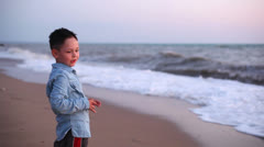 Little boy at the sea 1 Stock Footage