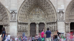 Time lapse of visitors at Notre dame cathedral Paris Stock Footage