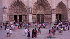 Time lapse of Notre dame cathedral with tourist infront Stock Footage