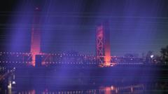 Sacramento Bridge with Purple Screen Stock Footage