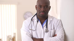 Close up of African American Doctor in clinic Stock Footage