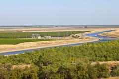 California aquaduct and farmlands. Stock Photos