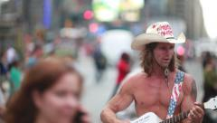 Naked Cowboy in New York City Times Square Stock Footage