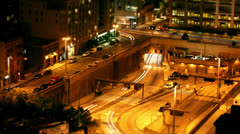 Time lapse of traffic passing through the streets of New York at night - stock footage