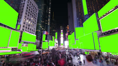 Time lapse of crowds and billboards at Times Square, New York. With Chroma key. - stock footage