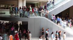 Large crowd of people on escalators Stock Footage