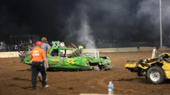 DEMOLITION DERBY WINNER! Stock Footage