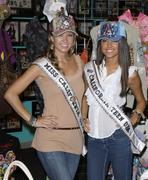 Stock Photo of miss california and miss teen california visits ed hardy headquarters