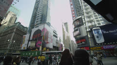 Editorial only: Advertising billboards and crowds at Times Square, New York - stock footage