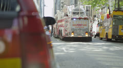 Fire crews respond to an emergency call in a district of Manhattan - stock footage