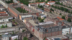 high angle view renovated Schilderswijk district in The Hague city center - stock footage