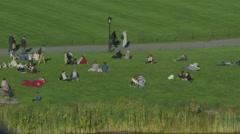 People relaxing in an area of Central Park, New York. Stock Footage