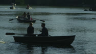 Stock Video Footage of People in rowboats on central park lake New York