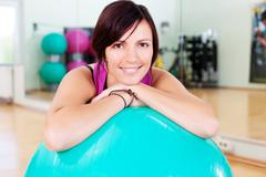 Woman with fitball Stock Photos