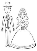 Bride and groom, contours Stock Illustration
