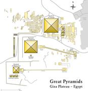 Pyramids of Giza Map - stock illustration