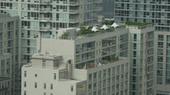 High angle view of apartment buildings in a residential district of New York Stock Footage