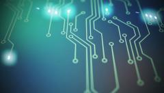 Circuit board. Technology computing CPU motherboard hardware electronics wires - stock footage