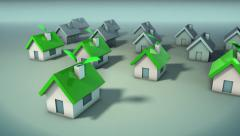 Houses going green - stock footage