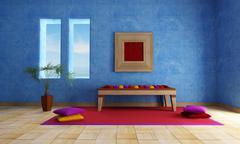 mediterranean blue  living room - stock illustration