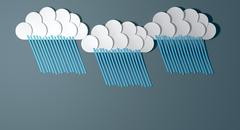 Stock Illustration of abstract cutout cartoon rainclouds