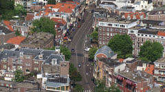 high angle view of The Hague city quarter + traffic Wagenstraat - stock footage