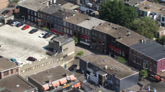 high angle view of red light district Geleenstraat The Hague + zoom out - stock footage